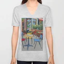 Amsterdam cityscape, Dutch landscape, oil painting Unisex V-Neck