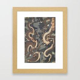 Dragons, Utagawa Yoshitsuya, 1843 Framed Art Print