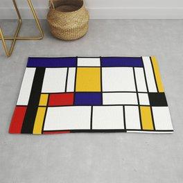 Primary Colors Geometric Pattern Fabric - Mondrian Fabric - Bauhaus Style Lines Home Decor Cotton Rug