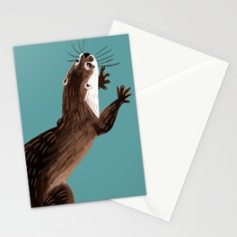 Asian small-clawed otter Cadet blue Stationery Cards