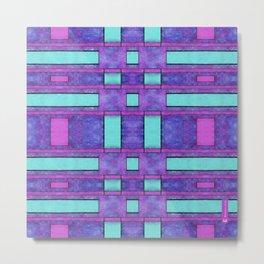 Simple geometric paint 3 - Parallel bars in purple Metal Print