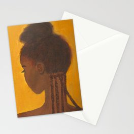 Yellow black girl Stationery Cards