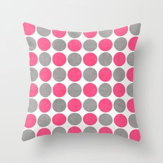 hot pink and gray dots Throw Pillow