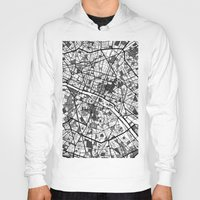 paris map Hoodies featuring Paris by Mondrian Maps