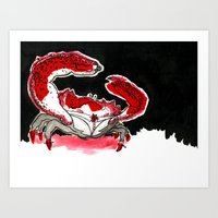 crab Art Prints featuring Crab by Lieke Mulder