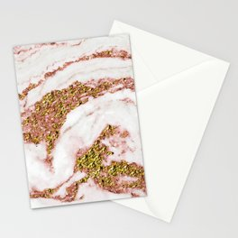 Rose Gold Glitter Sparkle Bling Marble on Pearl Stationery Cards