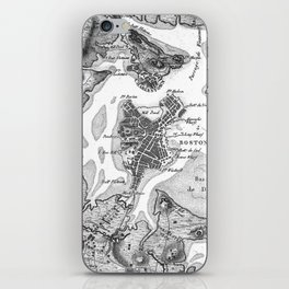 Vintage Map of Boston Harbor (1807) BW iPhone Skin