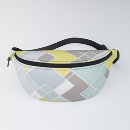 Yellow & Gray Geometric Pattern Fanny Pack