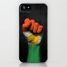 Kurdish Flag on a Raised Clenched Fist iPhone Case