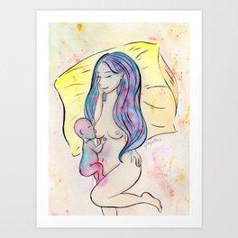 Breastfeeding in colors Art Print
