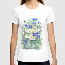 Watercolor chamomile and cornflowers T-shirt