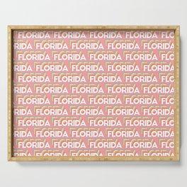 Florida, USA Trendy Rainbow Text Pattern (Pink) Serving Tray
