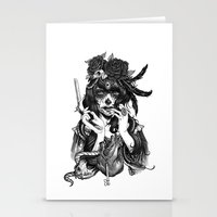 skull Stationery Cards featuring Chicana by Rudy Faber