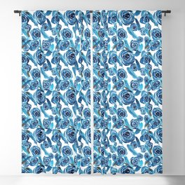 Blue rose and feather pattern Blackout Curtain