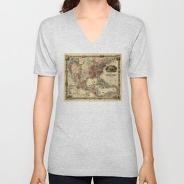Map of the United States of America by G. Colton (1850) Unisex V-Neck