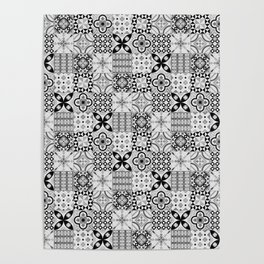 Patchwork pattern, black and white, seamless tile design Poster