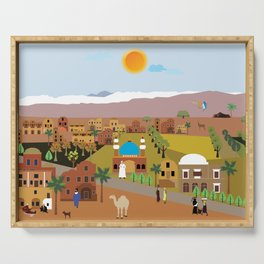 Peaceful Arab village In the desert Serving Tray