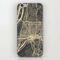 portland iPhone & iPod Skins featuring Portland map by Mondrian Maps