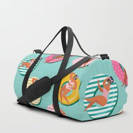 Summer gils on inflatable in swimming pool floats. Duffle Bag
