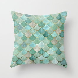 Moroccan Mermaid Fish Scale Pattern, Green and Gold Throw Pillow