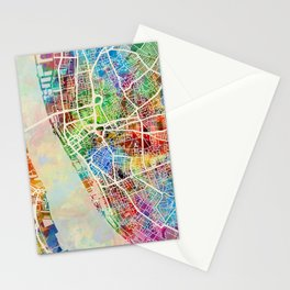 Liverpool England Street Map Stationery Cards