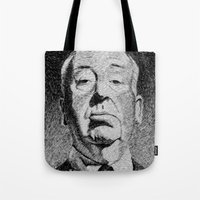 hitchcock Tote Bags featuring Fingerprint - Hitchcock by Nicolas Jolly