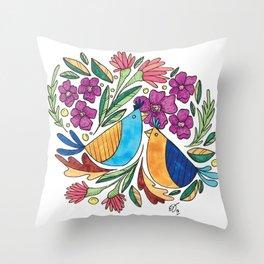 Birds & flore Throw Pillow