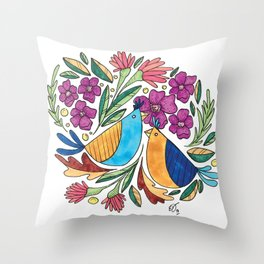 Birds & flore Throw Pillow