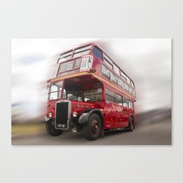 Old Red London Bus Vintage transport Canvas Print