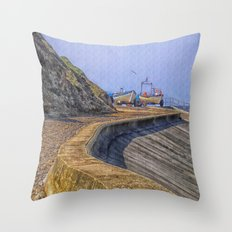 The Seagull and The Boats Throw Pillow