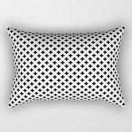 Small Black Crosses on White Rectangular Pillow