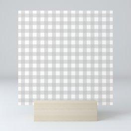 Light grey gingham pattern Mini Art Print