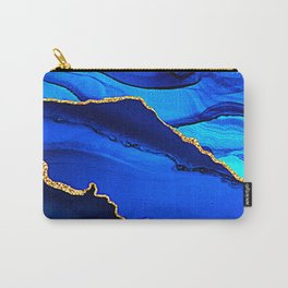 Turquoise, Teal Blue & Aqua Marble With Gold Veins Carry-All Pouch