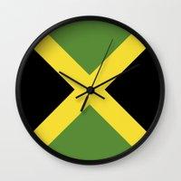 jamaica Wall Clocks featuring jamaica country flag  by tony tudor