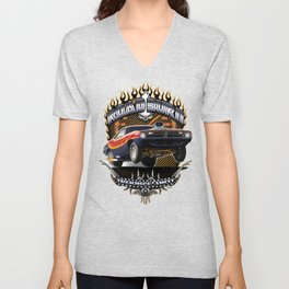 Plymouth Barracuda Road Burn - Muscle Car Unisex V-Neck