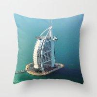 arab Throw Pillows featuring Dubai - Burj Al Arab Hotel by Art-Motiva