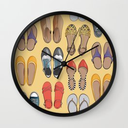 Hard choice // shoes on yellow background Wall Clock