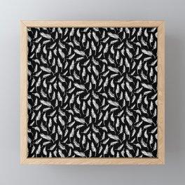 White Painted Feathers on Black Framed Mini Art Print