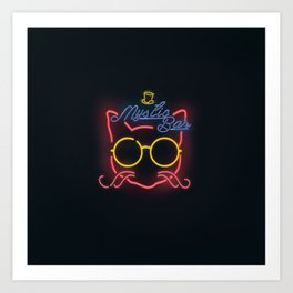 Neon sign - cat with a hat Art Print