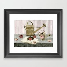 Watering Cans and Apples Framed Art Print