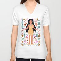 pocahontas V-neck T-shirts featuring Pocahontas by Carly Watts