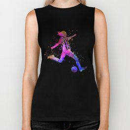 Girl playing soccer football player silhouette Biker Tank