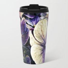Hortensia flowers in vintage grunge watercoloring style Travel Mug