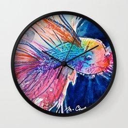 Neon Kissing Fish Wall Clock