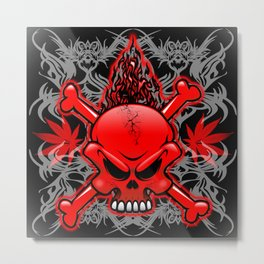 Red Fire Skull with Tribal Tattoos Metal Print