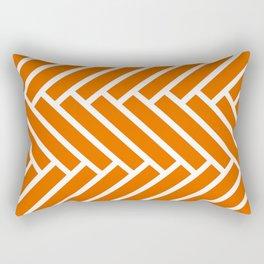 Bright orange and white herringbone pattern Rectangular Pillow
