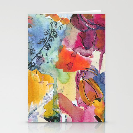 Abstract floral watercolour Stationery Cards