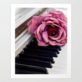 Piano Keys With Rose Art Print