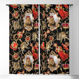 Lion king with royal dynasty objects. Blackout Curtain
