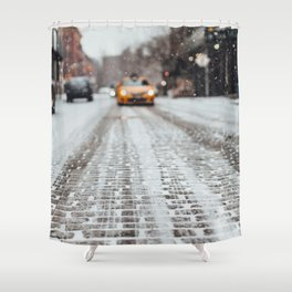 Yellow cab during snow Shower Curtain
